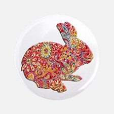 """Colorful Floral Easter Bunny 3.5"""" Button"""