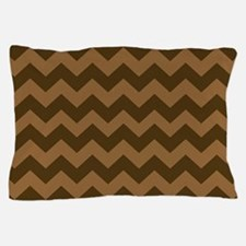 Shades of Brown Chevron Stripes Pillow Case