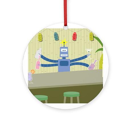 Robot Tiki Bar Bartender Ornament