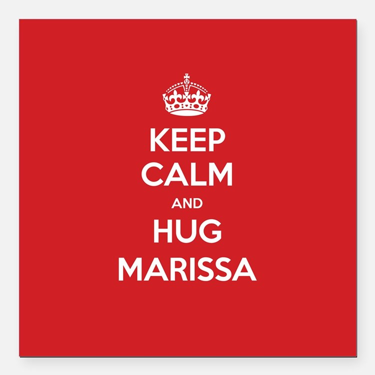 "Hug Marissa Square Car Magnet 3"" x 3"""