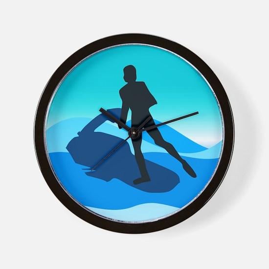 Jet Skier Blue Wall Clock