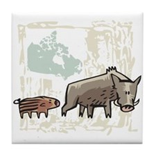 Mommy & Baby Canadian Boars Tile Coaster
