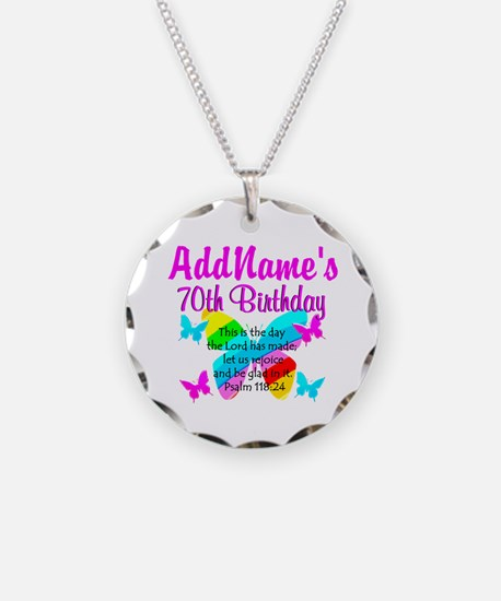 BLESSED 70TH Necklace Circle Charm