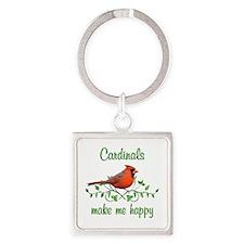 Cardinals Make Me Happy Square Keychain
