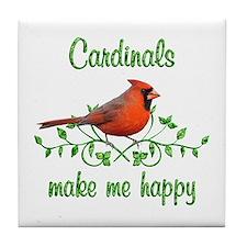 Cardinals Make Me Happy Tile Coaster