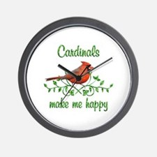 Cardinals Make Me Happy Wall Clock