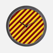 Maroon and Gold Striped Wall Clock