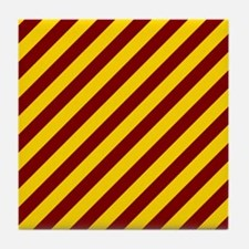 Maroon and Gold Striped Tile Coaster