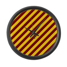 Maroon and Gold Striped Large Wall Clock