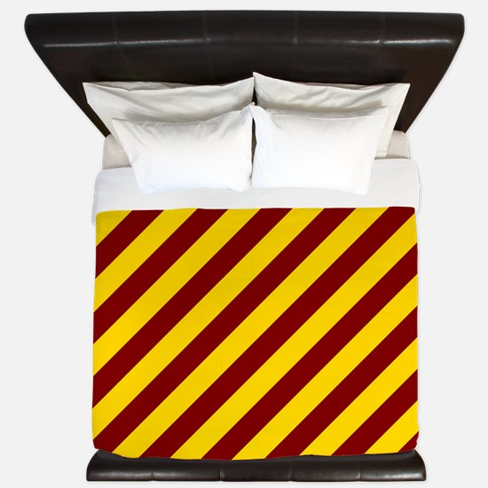 Maroon and Gold Striped King Duvet