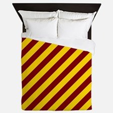 Maroon and Gold Striped Queen Duvet