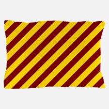 Maroon and Gold Striped Pillow Case
