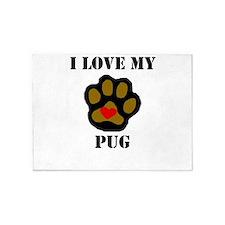 I Love My Pug 5'x7'Area Rug