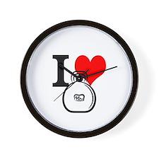 I Heart Kettlebell Wall Clock