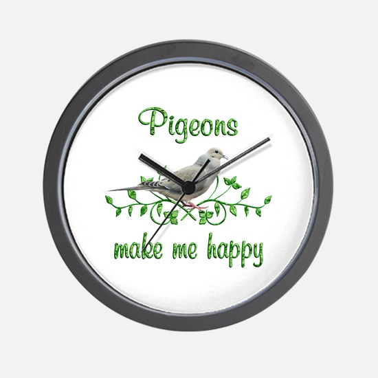 Pigeons Make Me Happy Wall Clock