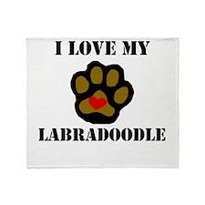 I Love My Labradoodle Throw Blanket