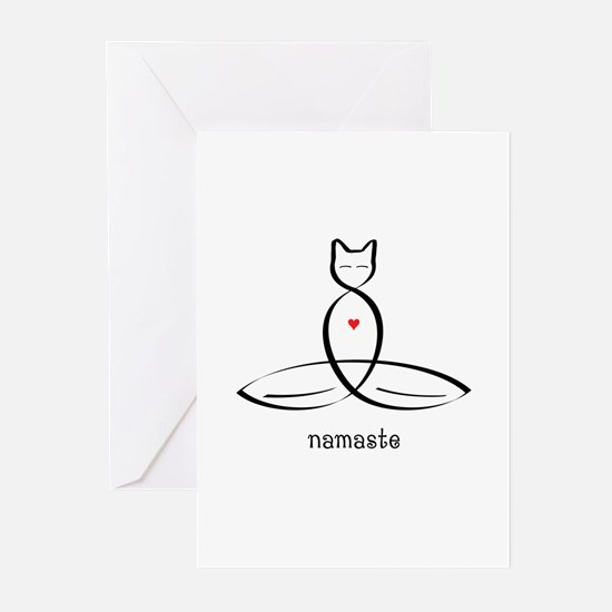 Cat Meditator - Namaste Greeting Cards (Pk of 10)