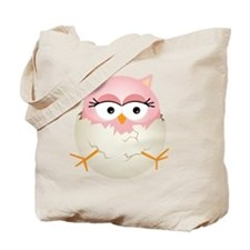 Cute Pink Baby Owl in Egg Tote Bag