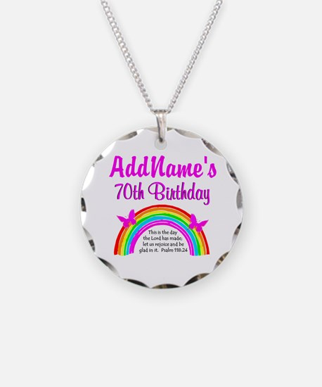 70TH RAINBOW Necklace Circle Charm