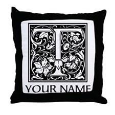 Custom Decorative Letter T Throw Pillow