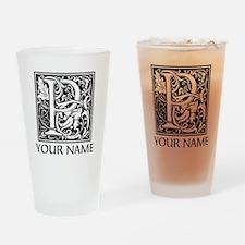 Custom Decorative Letter P Drinking Glass