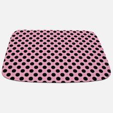 Pink Black Dots Pattern Bathmat