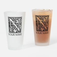 Custom Decorative Letter N Drinking Glass