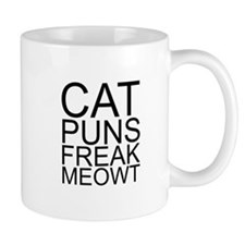 Cat Puns Freak Meowt (Black) Mugs