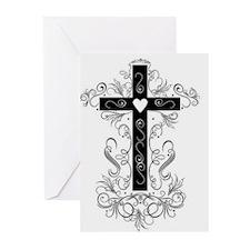 Flourish Cross Greeting Cards