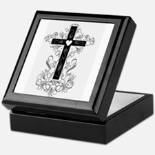 Flourish Cross Keepsake Box