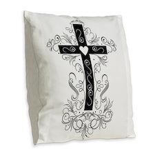Flourish Cross Burlap Throw Pillow