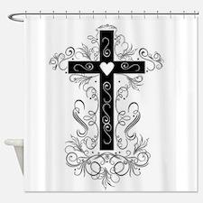 Flourish Cross Shower Curtain