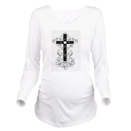 Flourish Cross Long Sleeve Maternity T-Shirt