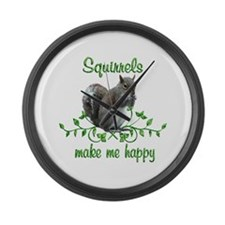 Squirrels Make Me Happy Large Wall Clock