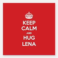 "Hug Lena Square Car Magnet 3"" x 3"""