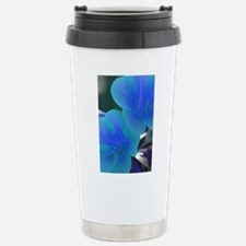 Tropical Flowers Blue Travel Mug