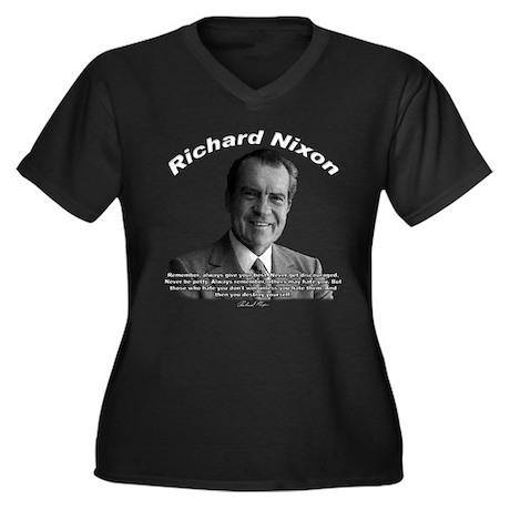 Richard Nixon 02 Women's Plus Size V-Neck Dark T-S