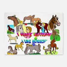 i have autism n like horses2300.png 5'x7'Area Rug