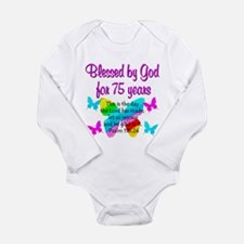 75 YR OLD ANGEL Long Sleeve Infant Bodysuit
