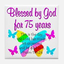 75 YR OLD ANGEL Tile Coaster