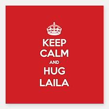 "Hug Laila Square Car Magnet 3"" x 3"""