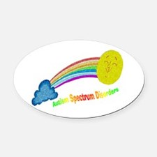 ASD puzzle rainbow.png Oval Car Magnet