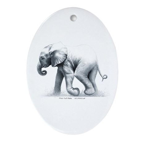 Baby Elephant Oval Ornament