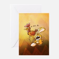 Easter Bunny Stealing an Egg from a  Greeting Card