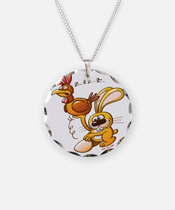 Easter Bunny Stealing an Egg Necklace