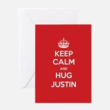 Hug Justin Greeting Cards