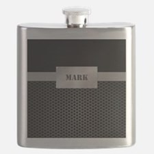 Faux Metal Nameplate Personalized Flask