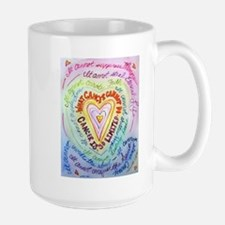 Rainbow Heart Cancer Large Mug