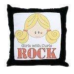 Girls with Curls Rock Throw Pillow