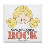 Girls with Curls Rock Tile Coaster